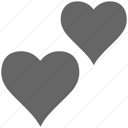 Simple Gray Classica Two Hearts Icon
