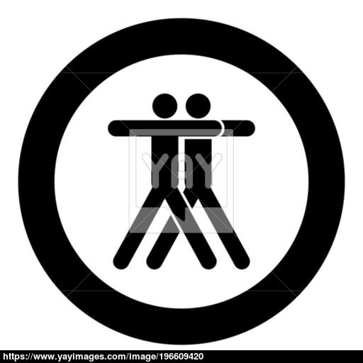 Two People Embracing Icon Black Color In Circle Vector