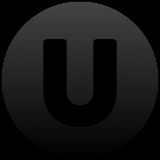 Simple Black Gradient Encircled Solid Capital U Icon