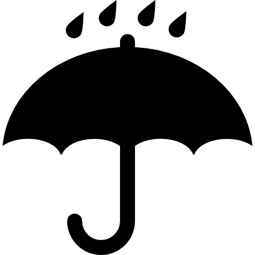 Black Opened Umbrella Symbol With Rain Drops Falling On It Icons