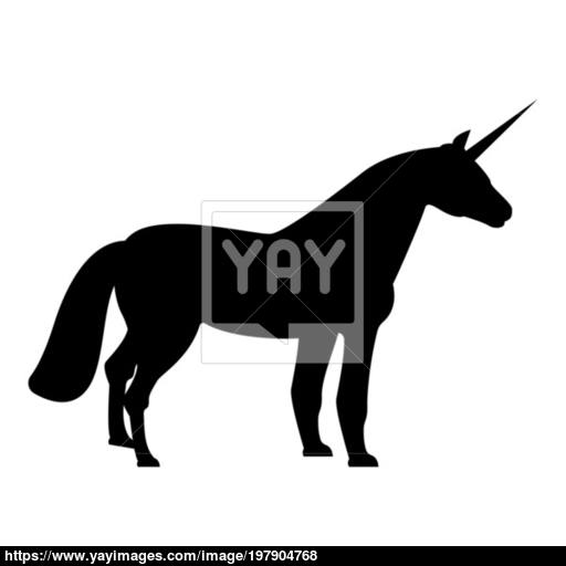 Unicorn Icon Black Color Illustration Flat Style Simple Image
