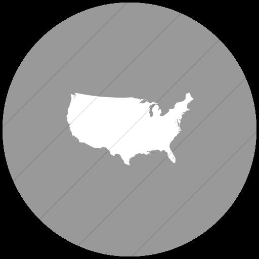 Flat Circle White On Light Gray Us States United States