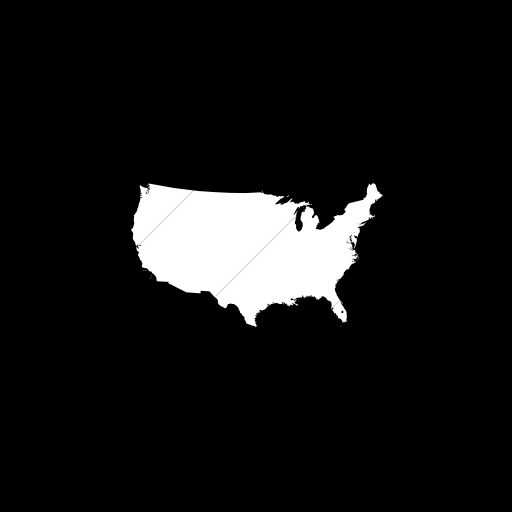 Flat Square White On Black Us States United States Icon