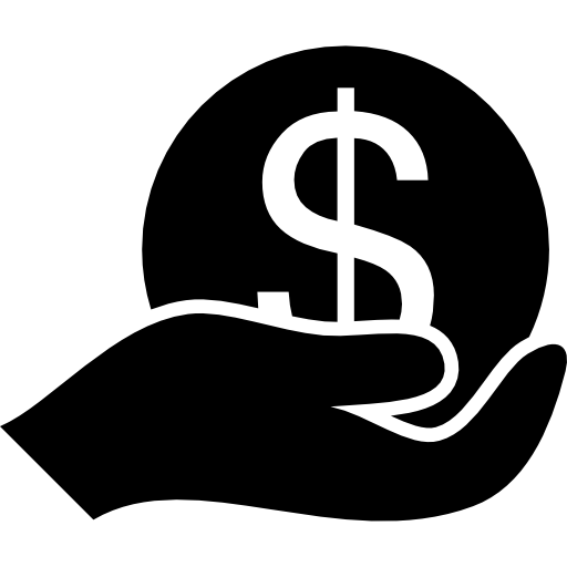 Dollar Big Coin On A Hand Icons Free Download