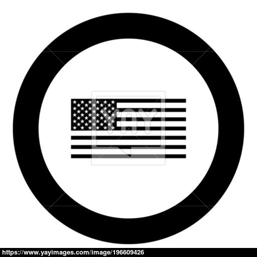 American Flag Icon Black Color In Circle Vector