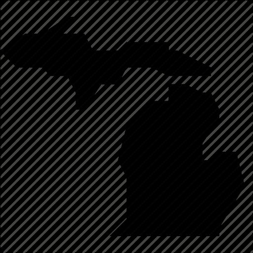 Map, Michigan, State, States, United States, Usa Icon