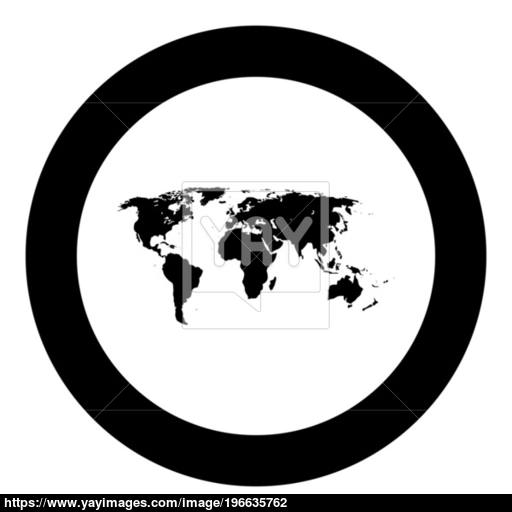 World Map Black Icon In Circle Vector Illustration Vector