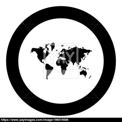 World Map Icon Black Color In Circle Vector