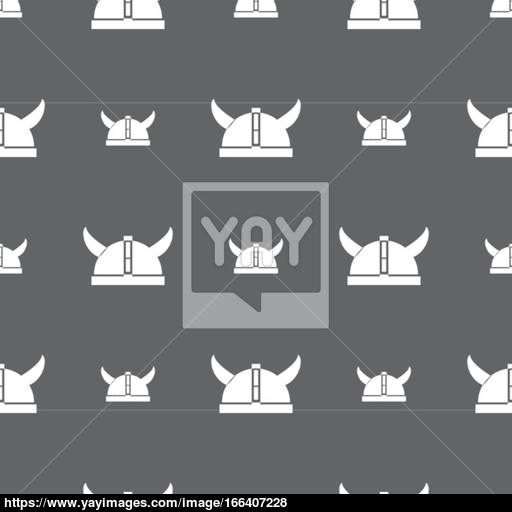 Viking Helmet Icon Sign Seamless Pattern On A Gray Background