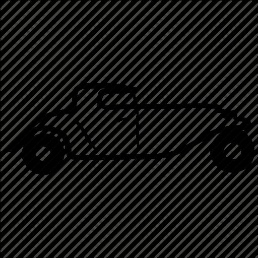 Automobile, Car, Road, Vintage Icon