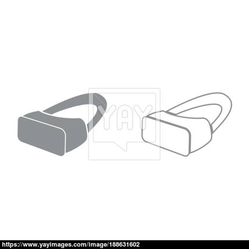 Vr Glasses It Is Black Icon Vector