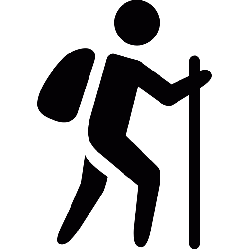 Man With Bag And Walking Stick Png Icon