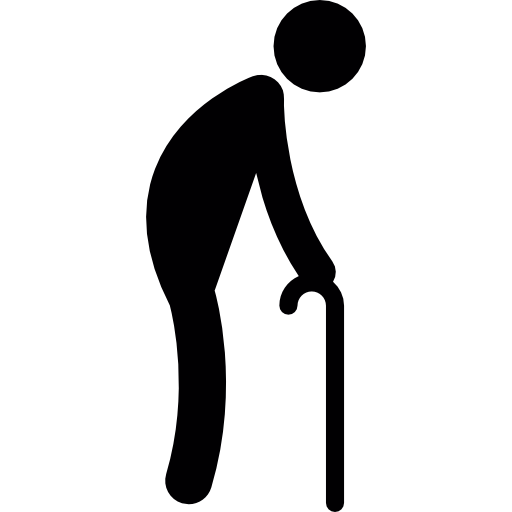 Old Man Walking With A Crutch Icons Free Download