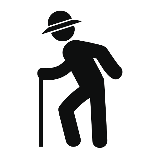 Old Man With Hat Walking With Cane Free Vector Icons Designed