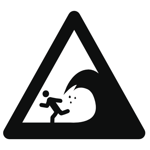 Beware Of Waves Warning Sign Icon Free Icons Download