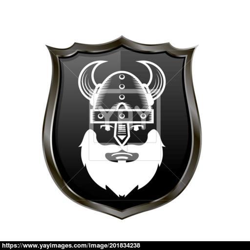 Viking Warrior Head Icon On Metal Shield Vector