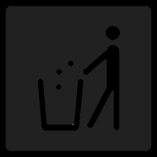 Man Throwing Trash Square Icon