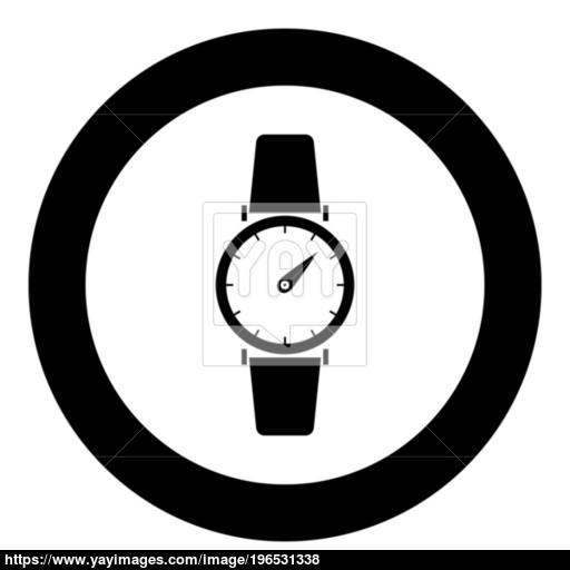 Hand Watch Icon Black Color In Circle Or Round Vector