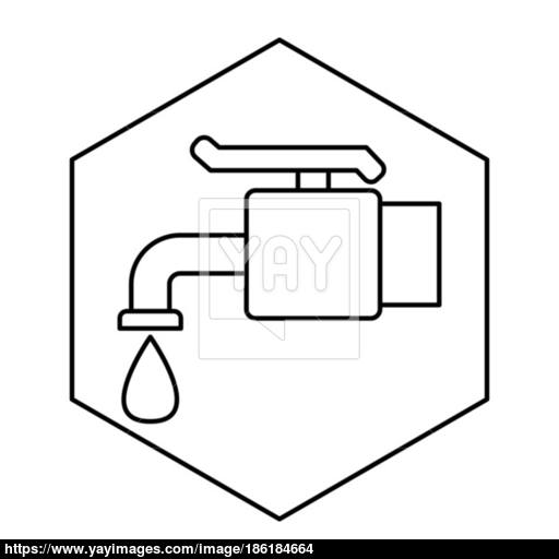 Thin Line Faucet Water Icon Vector