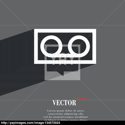 Audio Cassette Icon Symbol Flat Modern Web Design With Long Shadow
