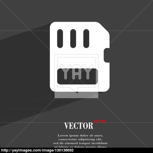 Compact Memory Card Icon Symbol Flat Modern Web Design With Long