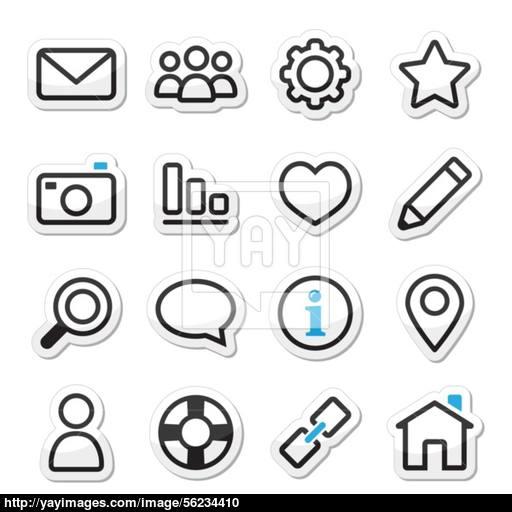Website Menu Navigation Stroke Icons Vector
