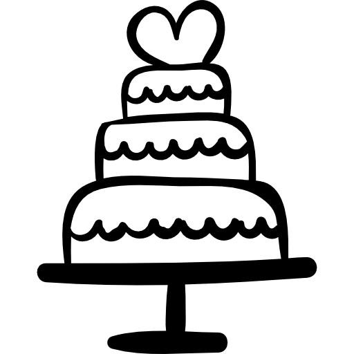 Wedding Cake With Heart Icons Free Download