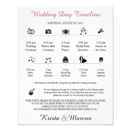 Icon Wedding Timeline Program In Icon Wedding
