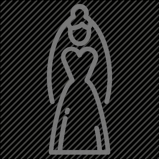 Bride, Dress, Gown, Veil, Wedding Icon
