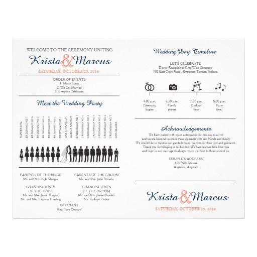 Simple Silhouettes Wedding Program Fan Icon Wedding Timeline