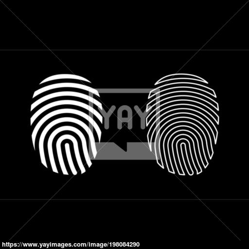 Fingerprint Icon Set White Color Illustration Flat Style Simple