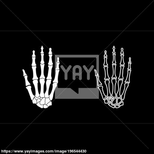 Hand Bone Icon Set White Color Illustration Flat Style Simple