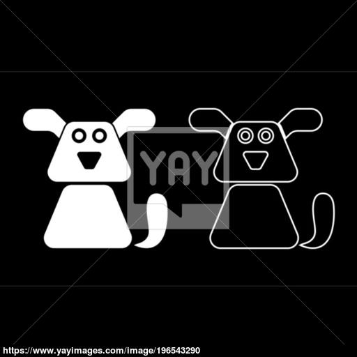 Dog Icon Set White Color Illustration Flat Style Simple Image
