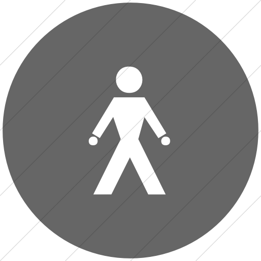 Flat Circle White On Gray Classica Walking Man Icon