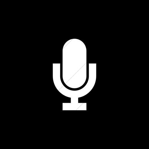 Flat Circle White On Black Raphael Microphone Icon