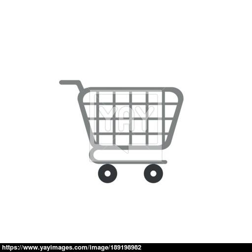 Flat Design Style Vector Shopping Cart Icon On White Vector