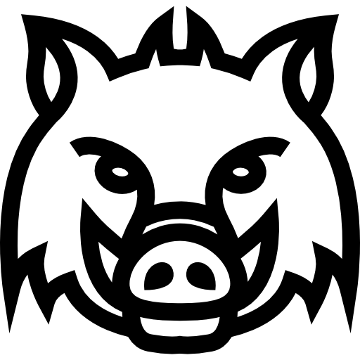 Wild Boar Head Frontal Outline Icons Free Download