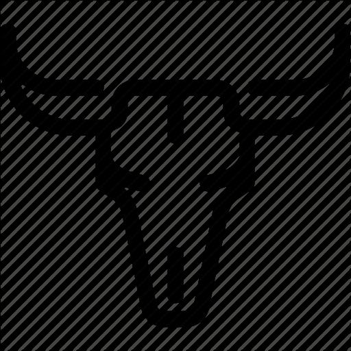 Bull, Cattle, Cow, Desert, Head, Skull, Wild West Icon