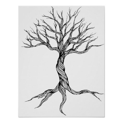 Twisted Old Tree Art Print Poster In Tattoo