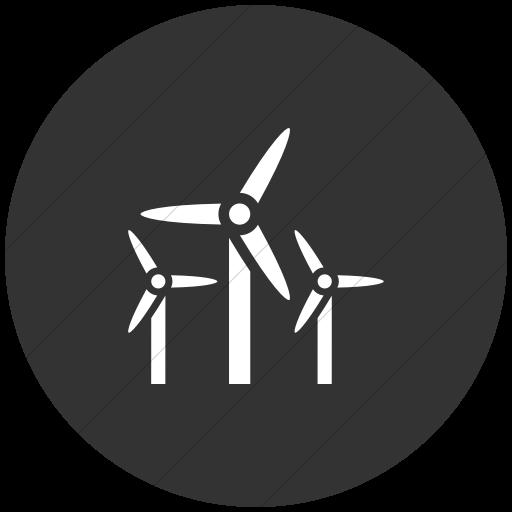 Flat Circle White On Dark Gray Iconathon Wind Farm Icon