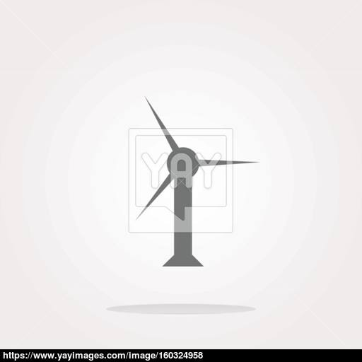 Vector Wind Turbine Icon, Web Button Isolated On White Vector