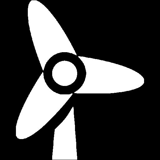 White Wind Turbine Icon