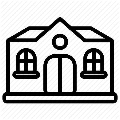 Building, Church, College, Outline, School, Windows Icon