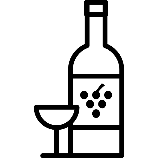 Grape Wine Bottle With Glass Icons Free Download