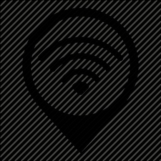 Broadcast, Internet, Map Marker, Network, Signal, Wifi, Wireless Icon