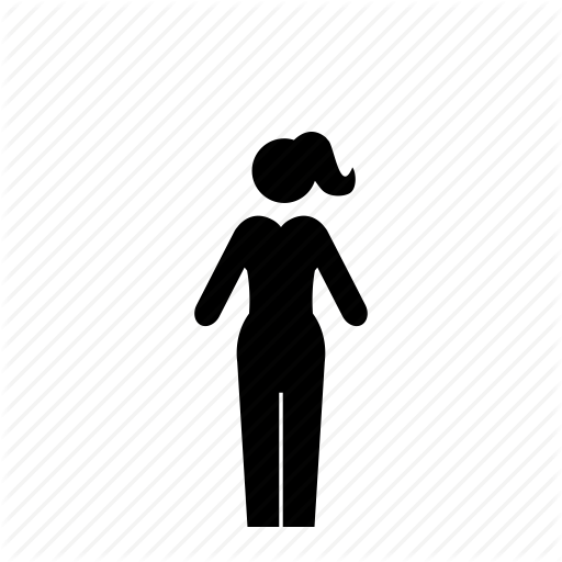 Female, Girl, Modern, Pants, Ponytail, Woman Icon
