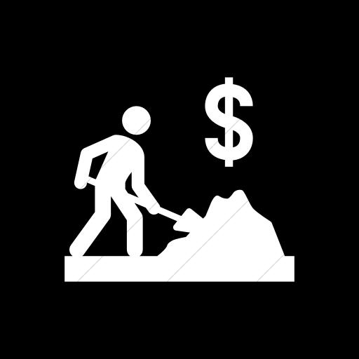 Flat Rounded Square White On Black Iconathon Cash