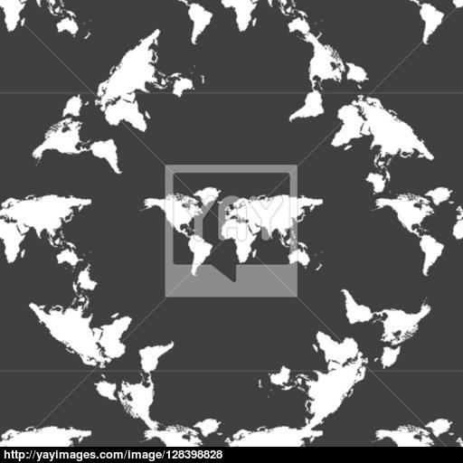 World Map Web Icon Flat Design Seamless Gray Pattern Vector