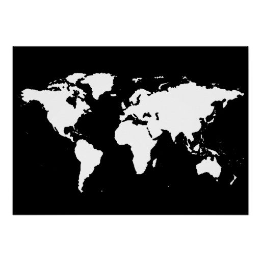 Black And White World Map Poster In Feels Like
