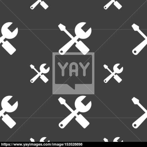 Wrench And Screwdriver Icon Sign Seamless Pattern On A Gray
